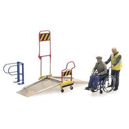 Rolstoelbrug met rolstoel en 2 figuren